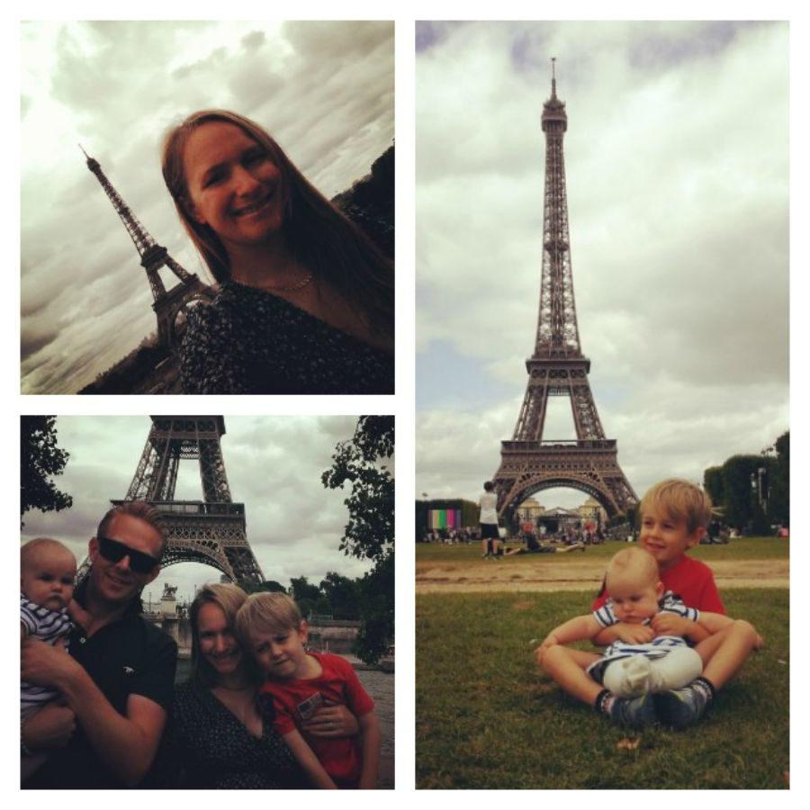 Brie, myself and I med familj njuter av Paris, sommaren 2015